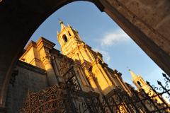 Arequipa, Abendstimmung an der Kathedrale