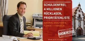 Titelbild Karte 1: Schuldenfrei, 4 Millionen Rücklagen, Prioritätenliste